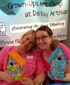 Theresa and Dawn during a Grown-Ups Art Camp 2016 workshop